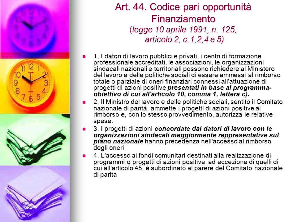 Art. 44. Codice pari opportunità Finanziamento (legge 10 aprile 1991, n.
