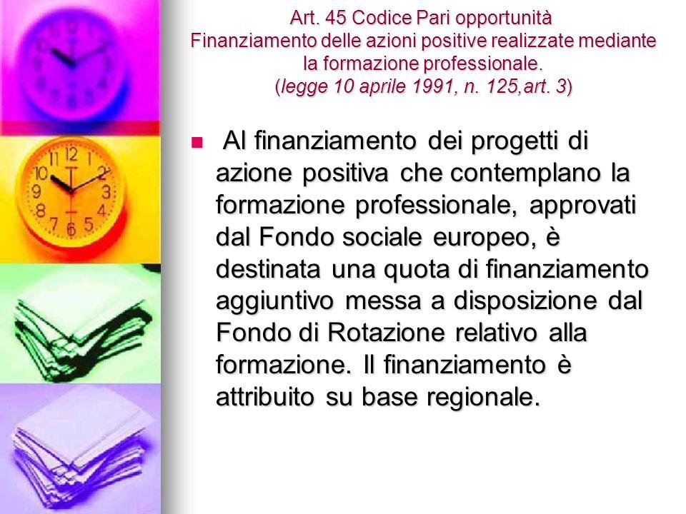 Art. 45 Codice Pari opportunità Finanziamento delle azioni positive realizzate mediante la formazione professionale. (legge 10 aprile 1991, n. 125,art