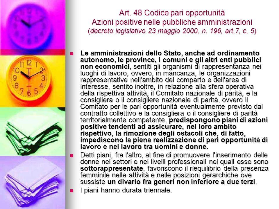 Art. 48 Codice pari opportunità Azioni positive nelle pubbliche amministrazioni (decreto legislativo 23 maggio 2000, n. 196, art.7, c. 5) Le amministr