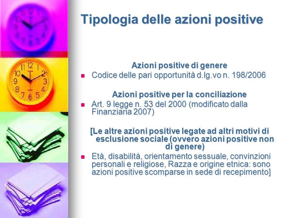 Tipologia delle azioni positive Azioni positive di genere Codice delle pari opportunità d.lg.vo n.