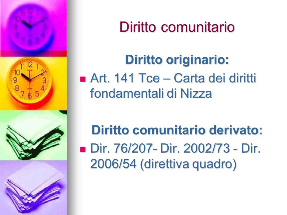 Diritto comunitario Diritto originario: Art. 141 Tce – Carta dei diritti fondamentali di Nizza Art.