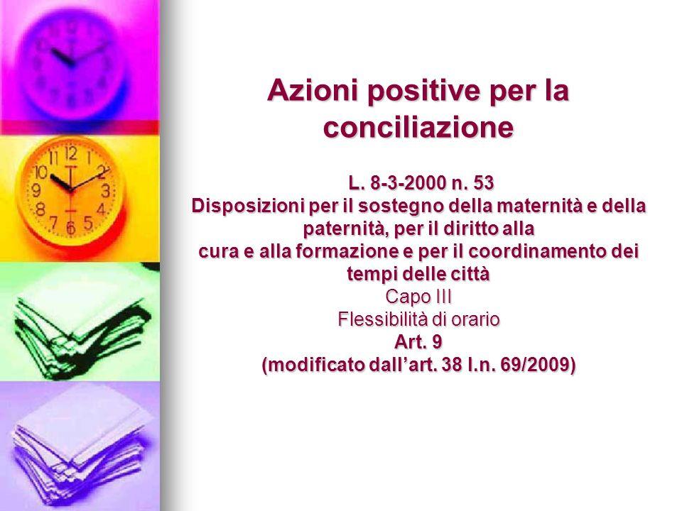 Azioni positive per la conciliazione L. 8-3-2000 n.