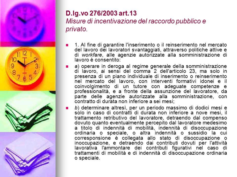 D.lg.vo 276/2003 art.13 Misure di incentivazione del raccordo pubblico e privato.