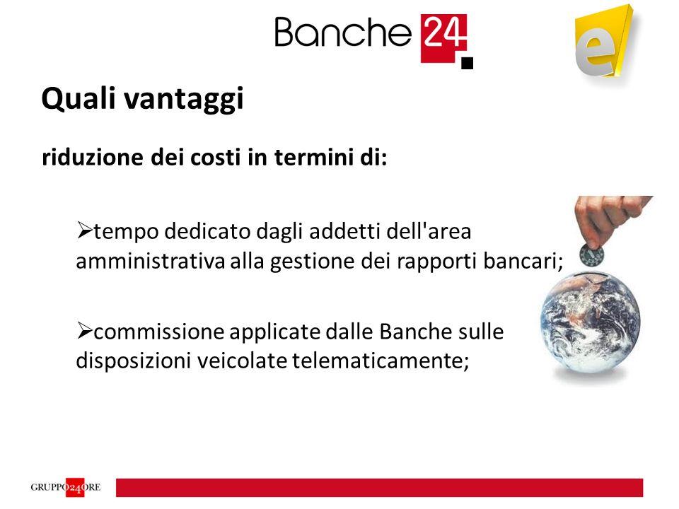 Quali vantaggi riduzione dei costi in termini di:  tempo dedicato dagli addetti dell area amministrativa alla gestione dei rapporti bancari;  commissione applicate dalle Banche sulle disposizioni veicolate telematicamente;