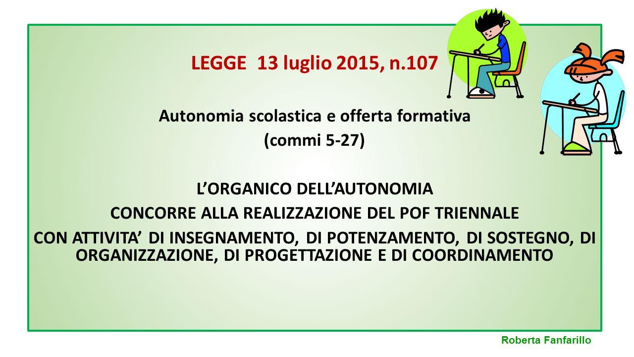 LEGGE 13 luglio 2015, n.107 Autonomia scolastica e offerta formativa (commi 5-27) L'ORGANICO DELL'AUTONOMIA CONCORRE ALLA REALIZZAZIONE DEL POF TRIENN