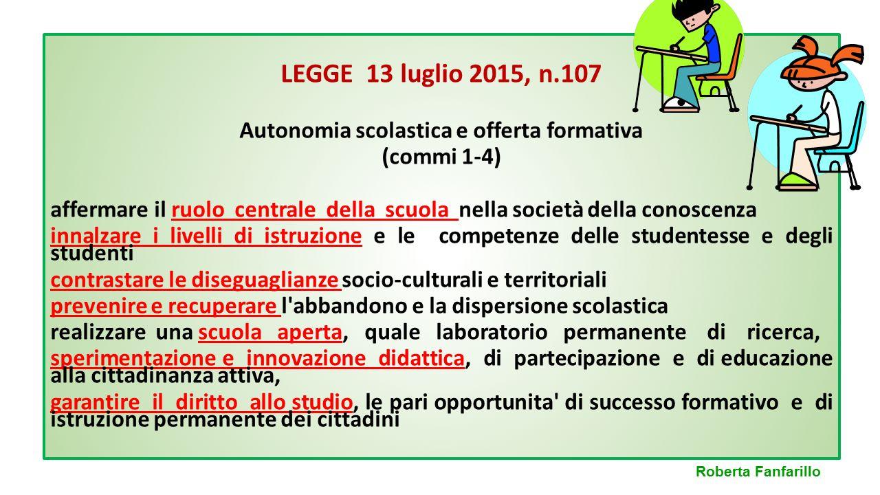 LEGGE 13 luglio 2015, n.107 Autonomia scolastica e offerta formativa (commi 5-27) Gli strumenti che la legge utilizza per dare piena attuazione all'autonomia sono: ORGANICO DELL'AUTONOMIA PIANO TRIENNALE DELL'AUTONOMIA Roberta Fanfarillo