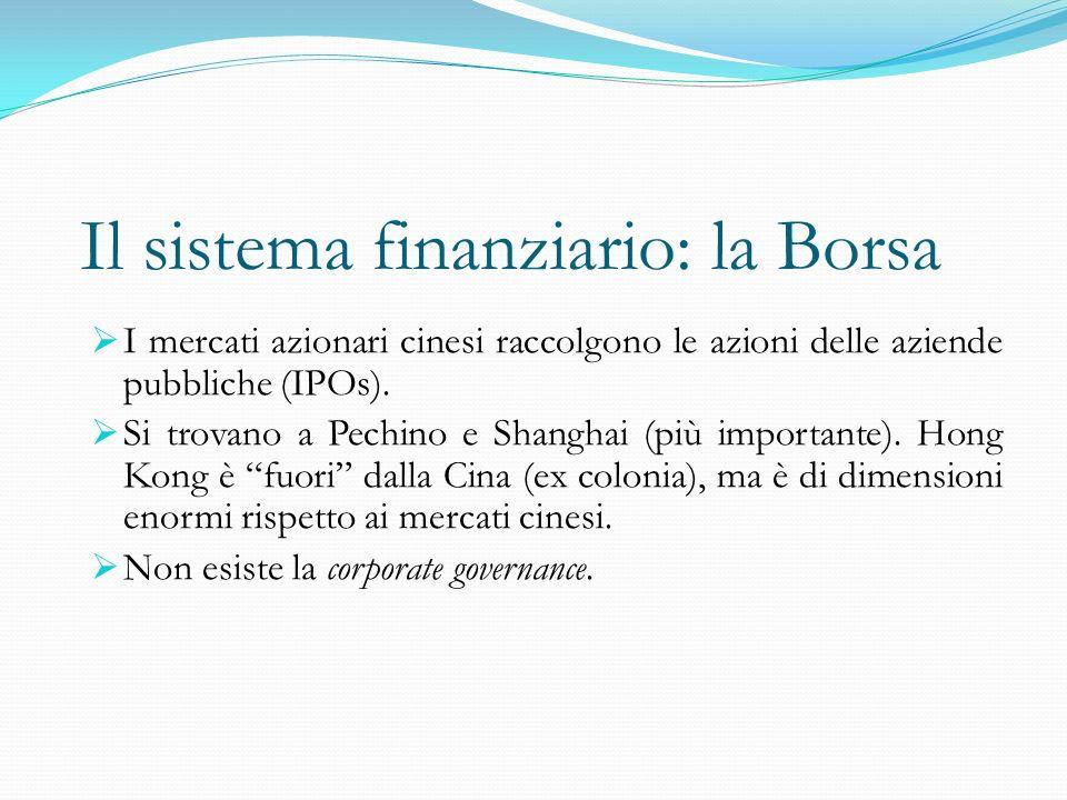 Il sistema finanziario: la Borsa  I mercati azionari cinesi raccolgono le azioni delle aziende pubbliche (IPOs).