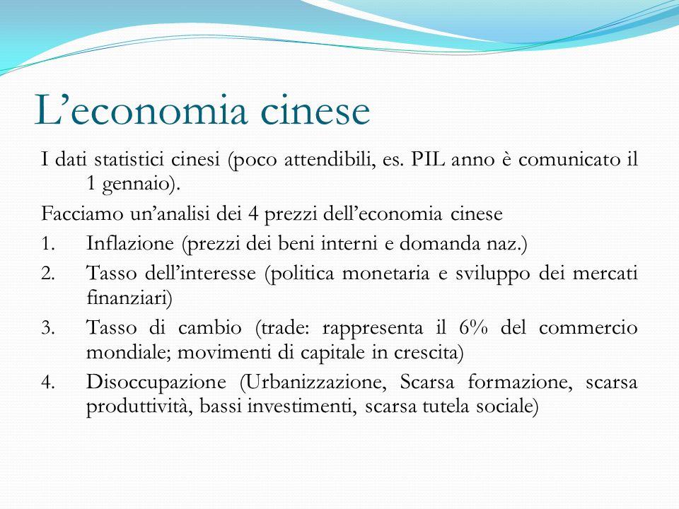 L'economia cinese I dati statistici cinesi (poco attendibili, es.