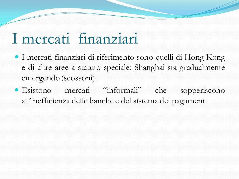 I mercati finanziari I mercati finanziari di riferimento sono quelli di Hong Kong e di altre aree a statuto speciale; Shanghai sta gradualmente emergendo (scossoni).