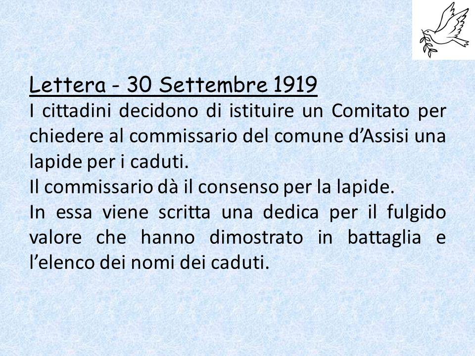 Lettera - 30 Settembre 1919 I cittadini decidono di istituire un Comitato per chiedere al commissario del comune d'Assisi una lapide per i caduti.