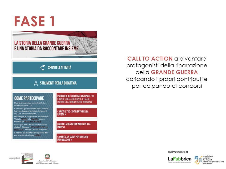 FASE 1 CALL TO ACTION a diventare protagonisti della rinarrazione della GRANDE GUERRA caricando i propri contributi e partecipando ai concorsi