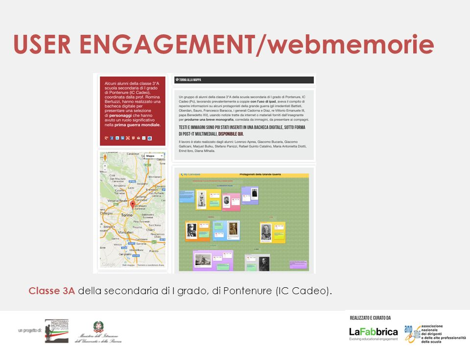 USER ENGAGEMENT/webmemorie Classe 3A della secondaria di I grado, di Pontenure (IC Cadeo).