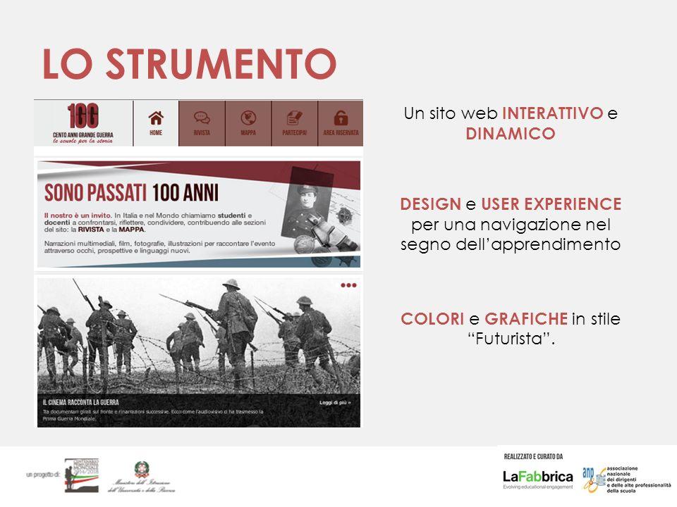 LO STRUMENTO Un sito web INTERATTIVO e DINAMICO DESIGN e USER EXPERIENCE per una navigazione nel segno dell'apprendimento COLORI e GRAFICHE in stile Futurista .