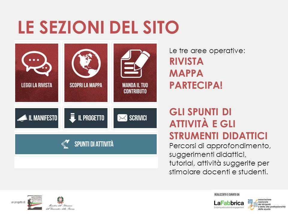 LE SEZIONI DEL SITO Le tre aree operative: RIVISTA MAPPA PARTECIPA.