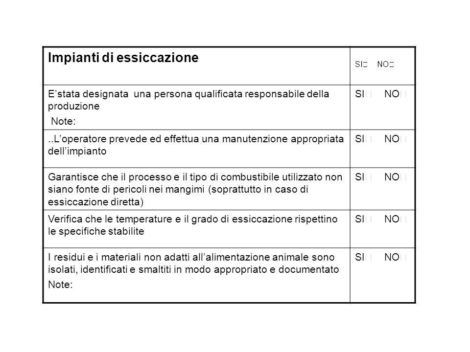 Impianti di essiccazione SI  NO  E'stata designata una persona qualificata responsabile della produzione Note: SI  NO ..L'operatore prevede ed eff