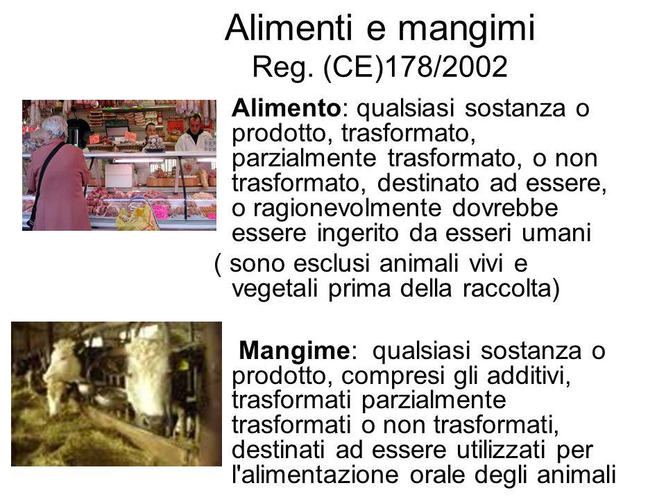 Alimenti e mangimi Reg. (CE)178/2002 Alimento: qualsiasi sostanza o prodotto, trasformato, parzialmente trasformato, o non trasformato, destinato ad e