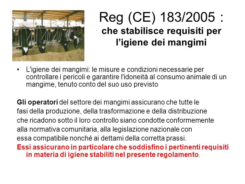 Reg (CE) 183/2005 : che stabilisce requisiti per l'igiene dei mangimi Obblighi per gli operatori: Registrazione e comunicazione variazioni; I produttori primari devono garantire i requisiti dell'allegato I.(buone pratiche) Gli altri operatori quelli dell'allegatoII (autocontrollo) Sanzioni previste dal DL 142/07: mancata registrazione: da euro 1500 a 9000 mancato aggiornamento: da euro 500 a 3000 mancato rispetto all.