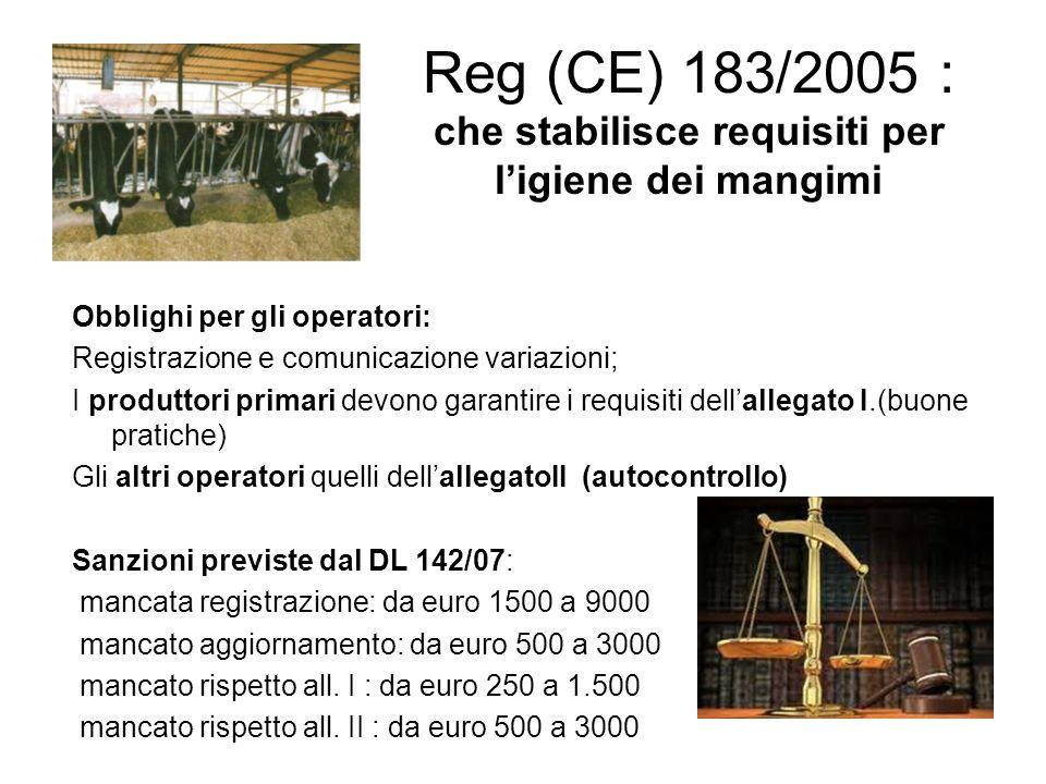 Reg (CE) 183/2005 : che stabilisce requisiti per l'igiene dei mangimi Obblighi per gli operatori: Registrazione e comunicazione variazioni; I produtto