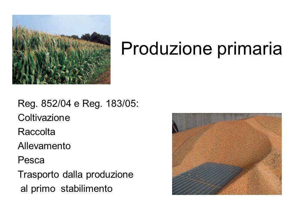 Produzione primaria Reg. 852/04 e Reg. 183/05: Coltivazione Raccolta Allevamento Pesca Trasporto dalla produzione al primo stabilimento