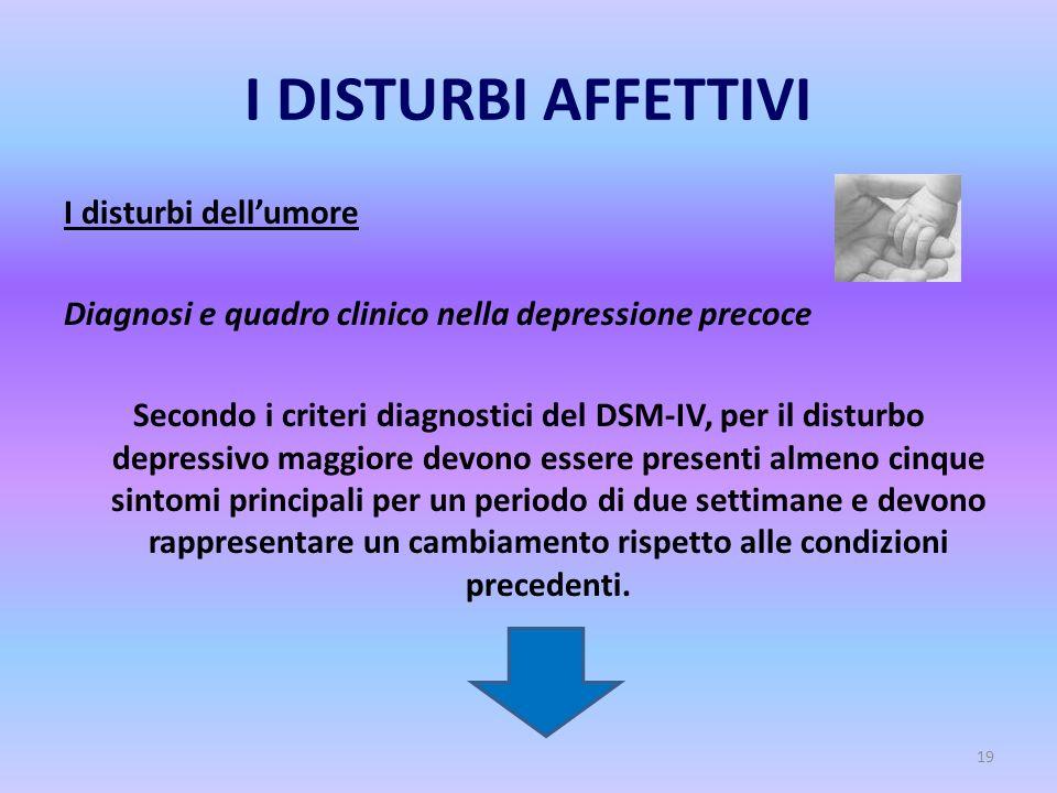 19 I DISTURBI AFFETTIVI I disturbi dell'umore Diagnosi e quadro clinico nella depressione precoce Secondo i criteri diagnostici del DSM-IV, per il dis