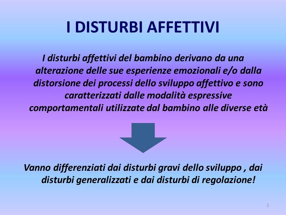 2 I DISTURBI AFFETTIVI I disturbi affettivi del bambino derivano da una alterazione delle sue esperienze emozionali e/o dalla distorsione dei processi