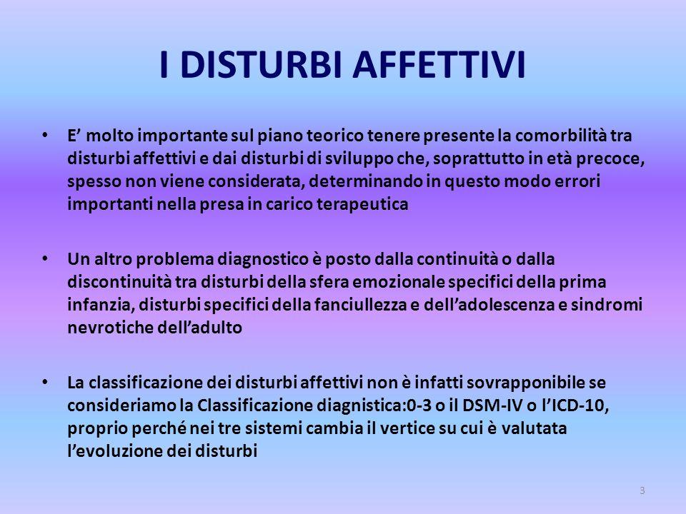 3 I DISTURBI AFFETTIVI E' molto importante sul piano teorico tenere presente la comorbilità tra disturbi affettivi e dai disturbi di sviluppo che, sop