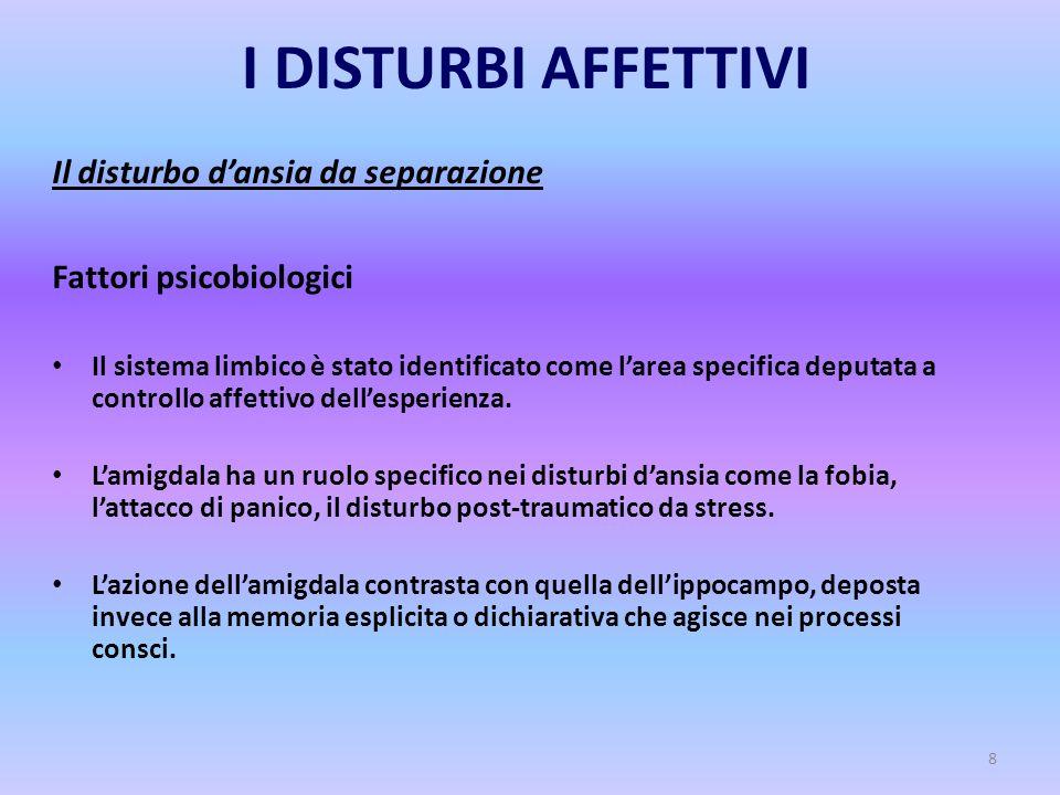 8 I DISTURBI AFFETTIVI Il disturbo d'ansia da separazione Fattori psicobiologici Il sistema limbico è stato identificato come l'area specifica deputat