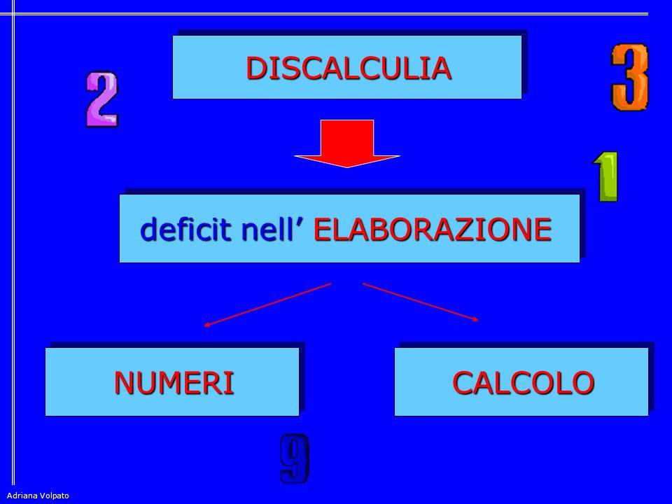 DISCALCULIA DISCALCULIA CALCOLO CALCOLO NUMERI NUMERI deficit nell' ELABORAZIONE