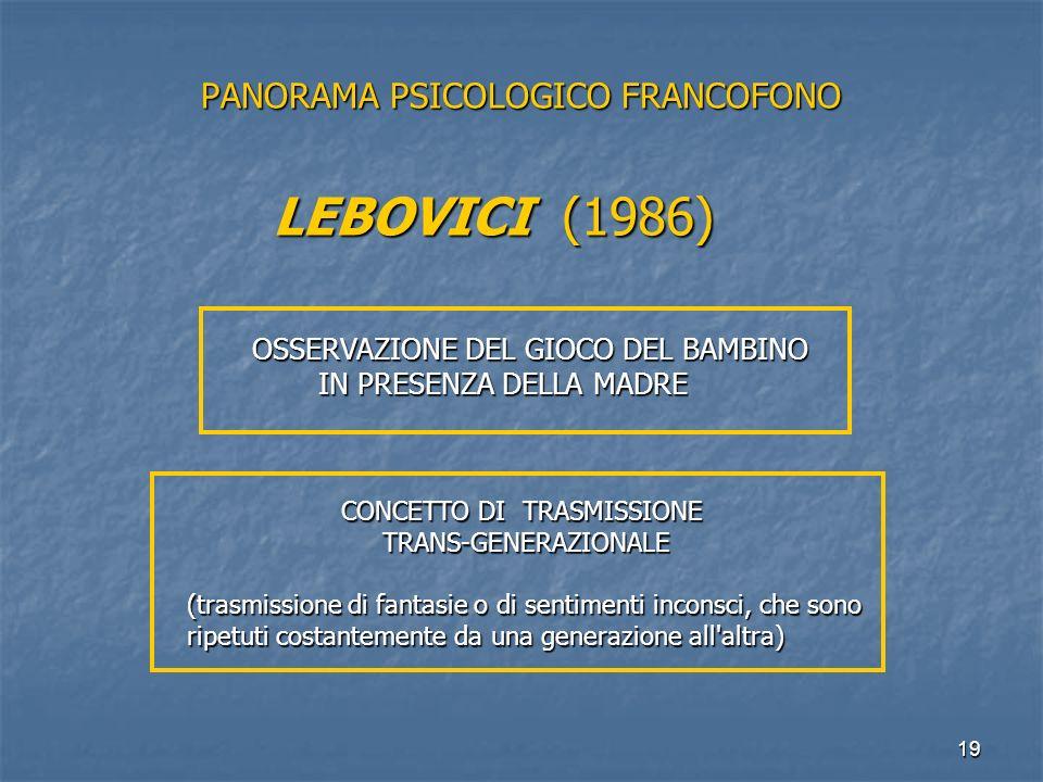 19 PANORAMA PSICOLOGICO FRANCOFONO LEBOVICI (1986) OSSERVAZIONE DEL GIOCO DEL BAMBINO IN PRESENZA DELLA MADRE IN PRESENZA DELLA MADRE CONCETTO DI TRAS