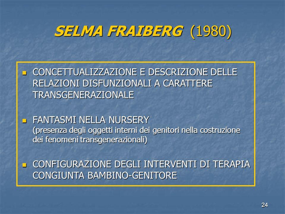 24 SELMA FRAIBERG (1980) CONCETTUALIZZAZIONE E DESCRIZIONE DELLE RELAZIONI DISFUNZIONALI A CARATTERE TRANSGENERAZIONALE CONCETTUALIZZAZIONE E DESCRIZI