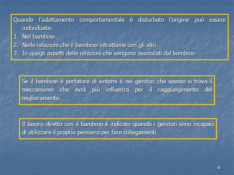 15 INTERPRETAZIONE DEL TRANSFERT OPERATO SUL BAMBINO DETERMINA MODIFICAZIONI MASSIVE DELLE RAPPRESENTAZIONI GENITORIALI DELLE RAPPRESENTAZIONI GENITORIALI DELLE MODALITA' INTERATTIVE DELLE MODALITA' INTERATTIVE DEL FUNZIONAMENTO DEL BAMBINO DEL FUNZIONAMENTO DEL BAMBINO MUTAZIONE= REINTEGRAZIONE DELLE IDENTIFICAZIONI PROIETTIVE GENITORIALI NEL LORO TERRITORIO PSICHICO ORIGINARIO PSICOTERAPIA BAMBINO-GENITORE (Cramer, Palacio-Espasa, 1993)