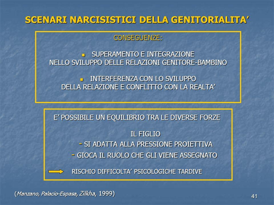 41 SCENARI NARCISISTICI DELLA GENITORIALITA' CONSEGUENZE: SUPERAMENTO E INTEGRAZIONE SUPERAMENTO E INTEGRAZIONE NELLO SVILUPPO DELLE RELAZIONI GENITOR
