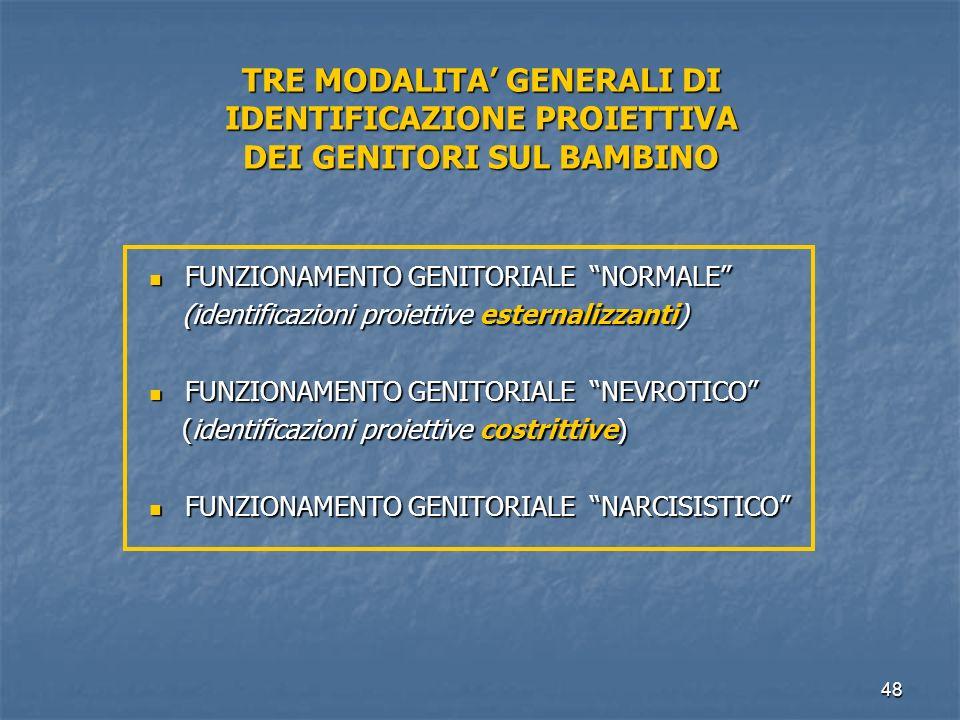 """48 TRE MODALITA' GENERALI DI IDENTIFICAZIONE PROIETTIVA DEI GENITORI SUL BAMBINO FUNZIONAMENTO GENITORIALE """"NORMALE"""" FUNZIONAMENTO GENITORIALE """"NORMAL"""