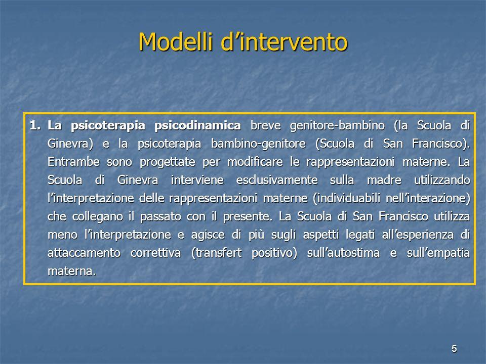 5 Modelli d'intervento 1.La psicoterapia psicodinamica breve genitore-bambino (la Scuola di Ginevra) e la psicoterapia bambino-genitore (Scuola di San