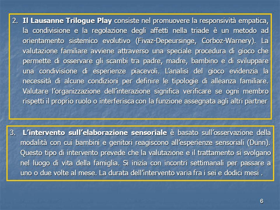 6 2. Il Lausanne Trilogue Play consiste nel promuovere la responsività empatica, la condivisione e la regolazione degli affetti nella triade è un meto
