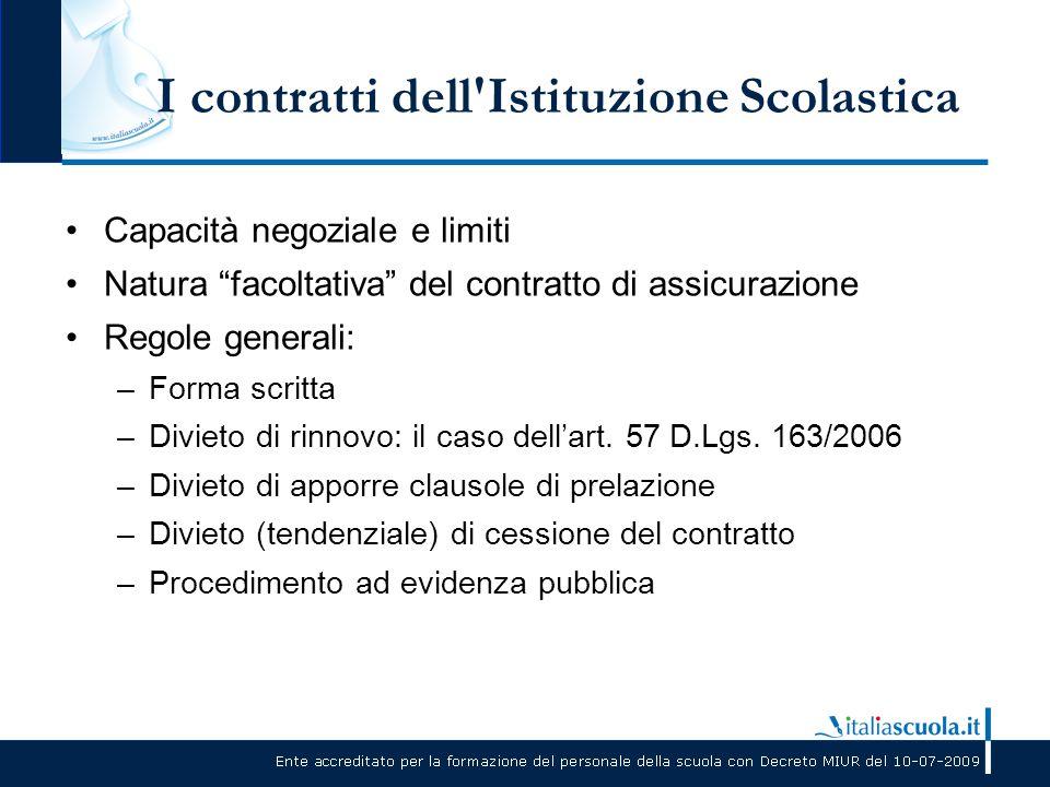 """I contratti dell'Istituzione Scolastica Capacità negoziale e limiti Natura """"facoltativa"""" del contratto di assicurazione Regole generali: –Forma scritt"""