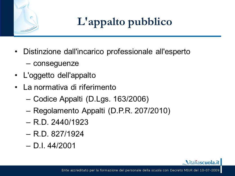 L'appalto pubblico Distinzione dall'incarico professionale all'esperto –conseguenze L'oggetto dell'appalto La normativa di riferimento –Codice Appalti