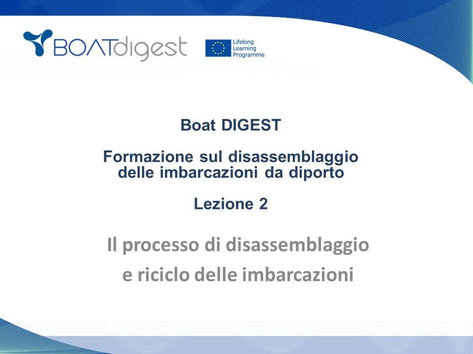 Boat DIGEST Formazione sul disassemblaggio delle imbarcazioni da diporto Lezione 2 Il processo di disassemblaggio e riciclo delle imbarcazioni