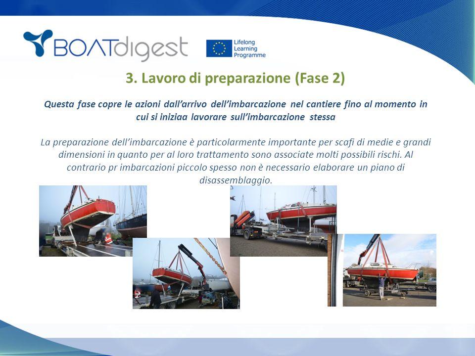 3. Lavoro di preparazione (Fase 2) Questa fase copre le azioni dall'arrivo dell'imbarcazione nel cantiere fino al momento in cui si iniziaa lavorare s