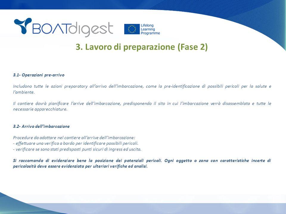 3.1- Operazioni pre-arrivo Includono tutte le azioni preparatory all'arrivo dell'imbarcazione, come la pre-identificazione di possibili pericoli per la salute e l'ambiente.