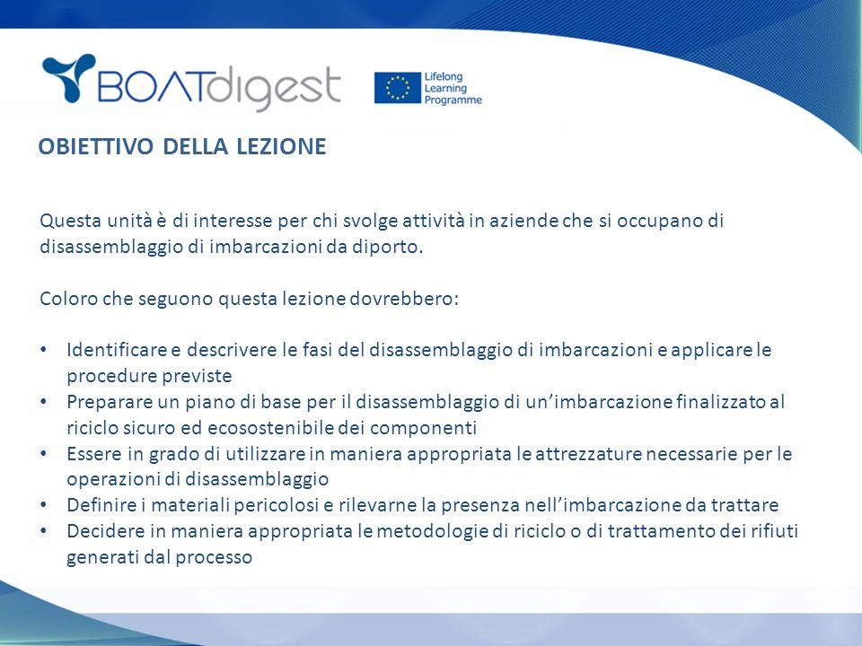 OBIETTIVO DELLA LEZIONE Questa unità è di interesse per chi svolge attività in aziende che si occupano di disassemblaggio di imbarcazioni da diporto.