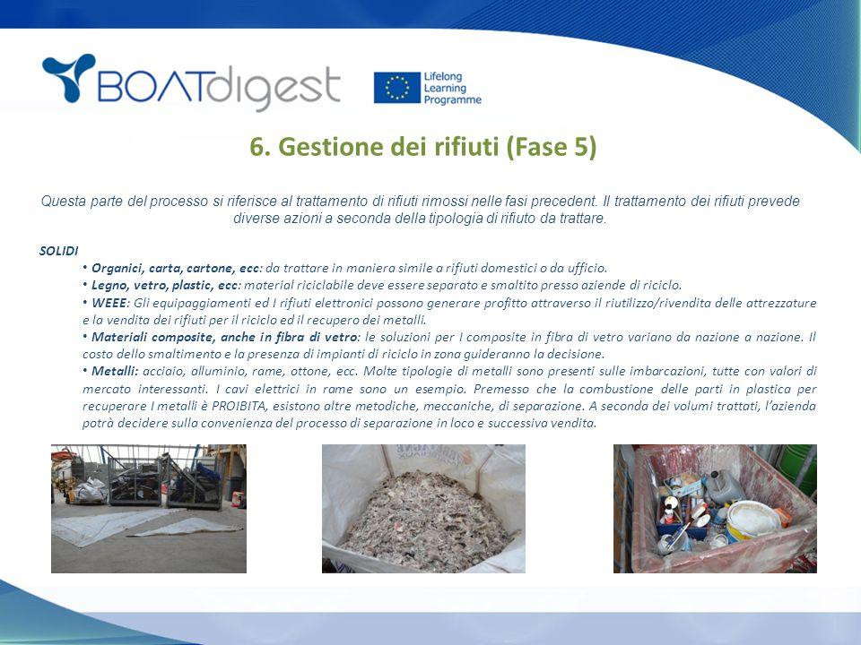 6. Gestione dei rifiuti (Fase 5) SOLIDI Organici, carta, cartone, ecc: da trattare in maniera simile a rifiuti domestici o da ufficio. Legno, vetro, p