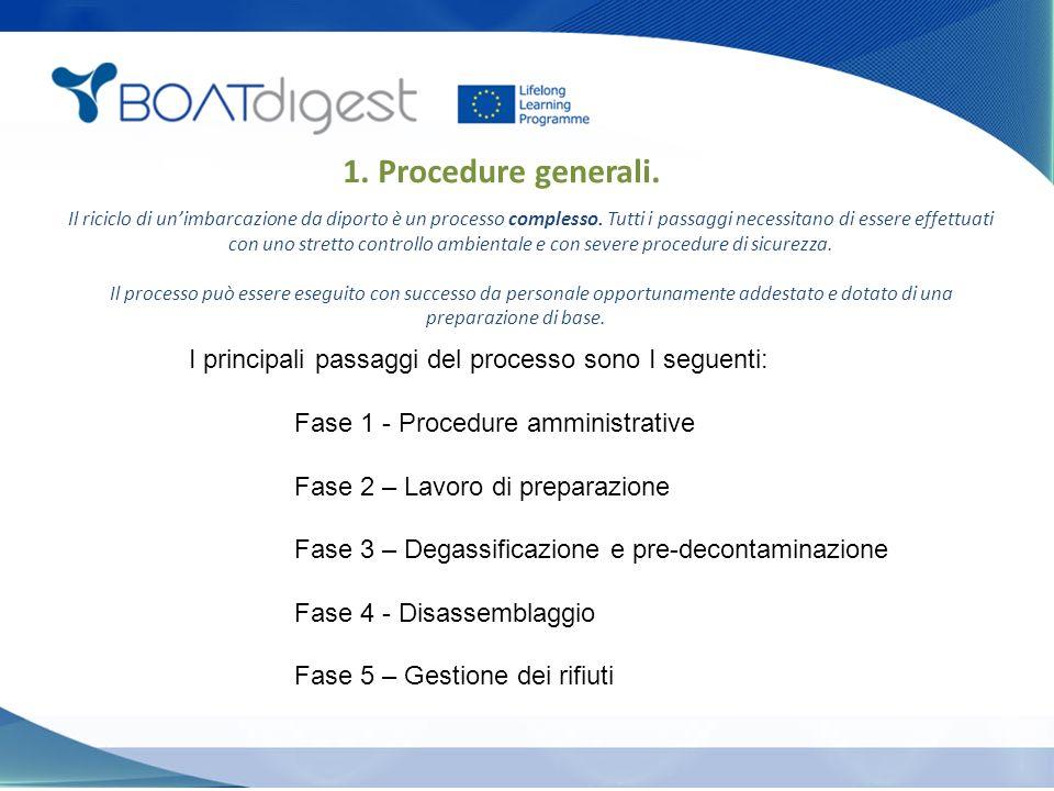 1. Procedure generali. I principali passaggi del processo sono I seguenti: Fase 1 - Procedure amministrative Fase 2 – Lavoro di preparazione Fase 3 –