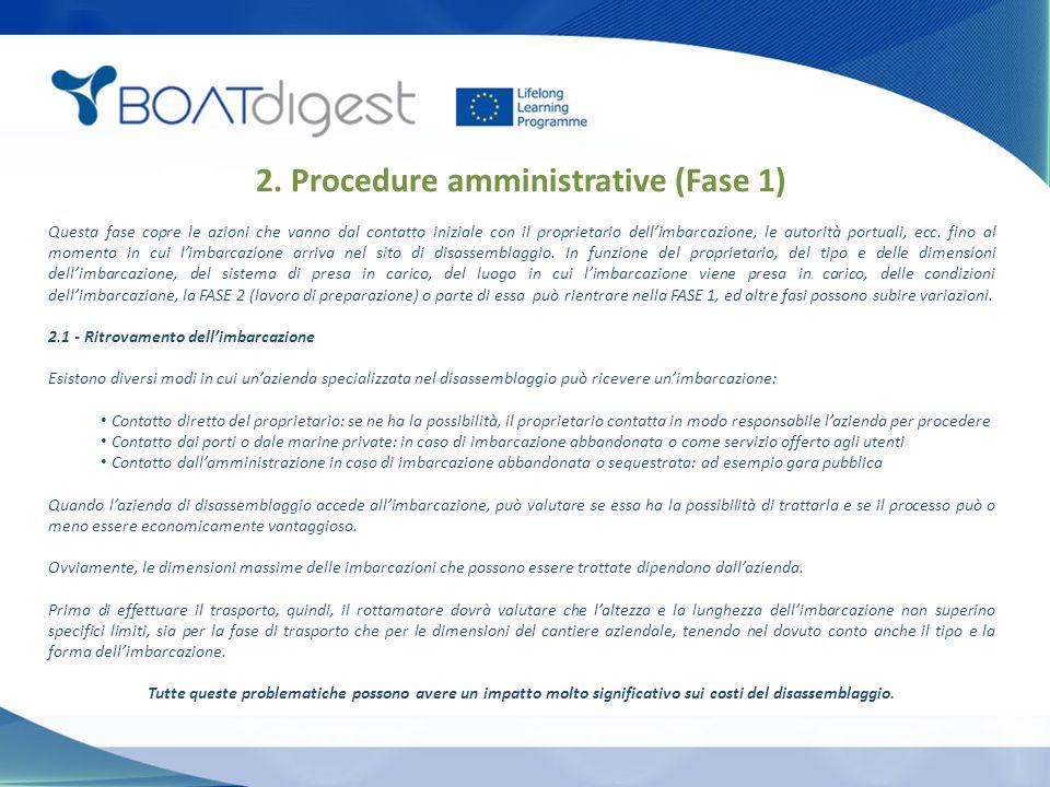 2. Procedure amministrative (Fase 1) Questa fase copre le azioni che vanno dal contatto iniziale con il proprietario dell'imbarcazione, le autorità po