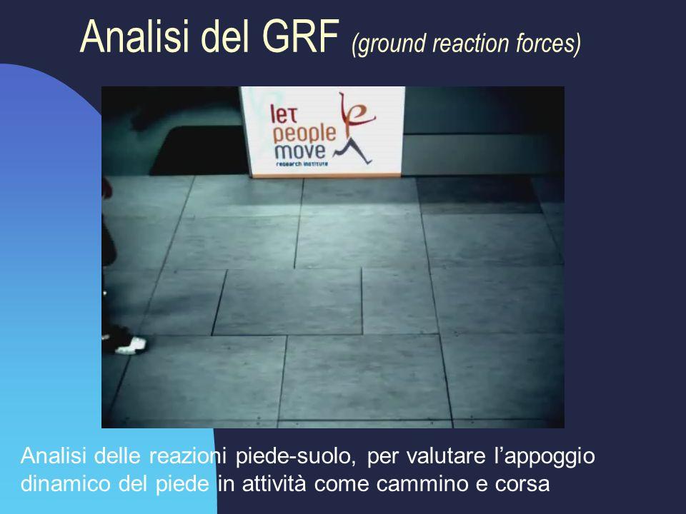 Analisi del GRF (ground reaction forces) Analisi delle reazioni piede-suolo, per valutare l'appoggio dinamico del piede in attività come cammino e cor