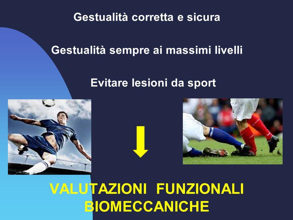 Gestualità corretta e sicura Gestualità sempre ai massimi livelli Evitare lesioni da sport VALUTAZIONI FUNZIONALI BIOMECCANICHE