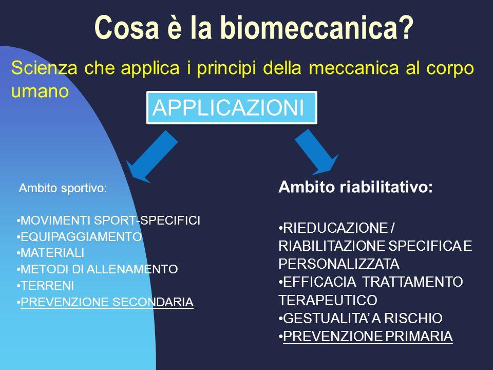 Cosa è la biomeccanica? Scienza che applica i principi della meccanica al corpo umano Ambito sportivo: MOVIMENTI SPORT-SPECIFICI EQUIPAGGIAMENTO MATER