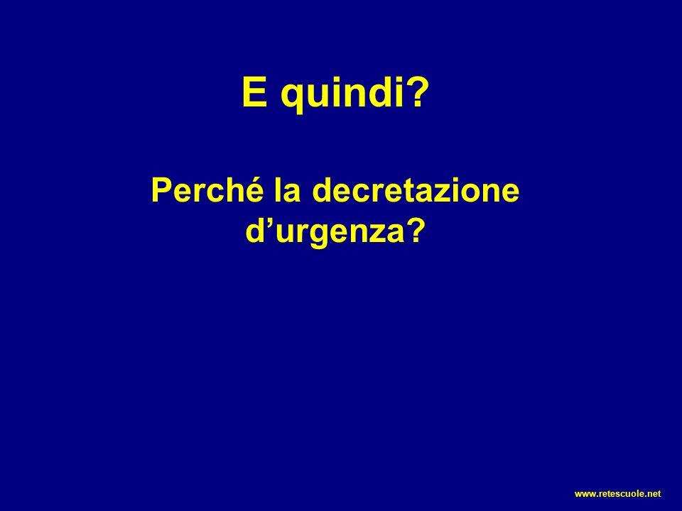 E quindi? Perché la decretazione d'urgenza? www.retescuole.net