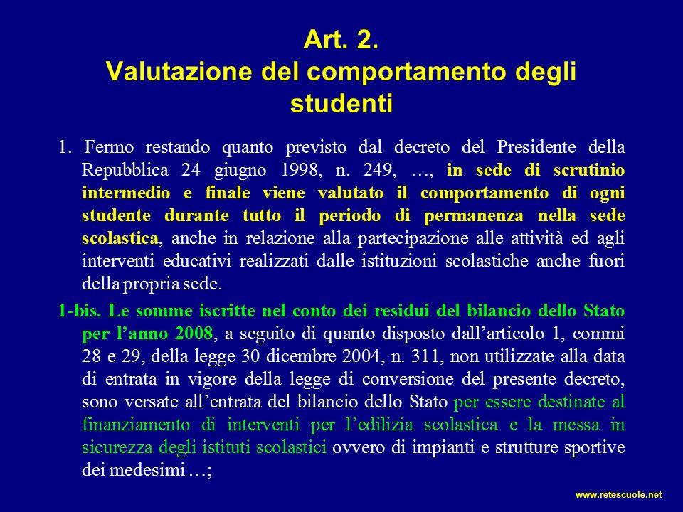 Art. 2. Valutazione del comportamento degli studenti 1.