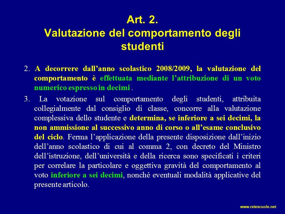 Art.2. Valutazione del comportamento degli studenti 2.
